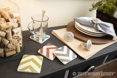 Chevron coasters add style and flair to this place setting.