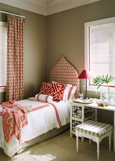 Alessandra Branca :: Raoul's Sari fabric in Coral is the predominant pattern in a guest room, where maze-print custom shams and Matouk linens underscore the mood of breezy sophistication. | Lonny.com