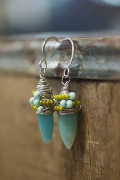 Simple Amazonite and Wire Wrap Earrings on Etsy, $34.00
