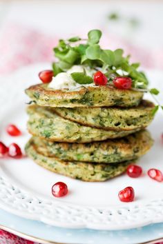 watercress pancakes with lime-cilantro butter