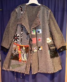 Recycled wool coat  with scarf Hand painted  Plus size. $147.00, via Etsy.