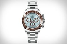Rolex Oyster Perpetual Cosmograph Daytona Platinum Watch ($TBA)    This new Daytona was created to celebrate the 50th anniversary of the original. Crafted entirely from 950 platinum, it features a Cerachrom brown ceramic bezel, an ice blue dial, and a 4130 self-winding movement. Just move fast if you want to pick one up — it'll be extremely limited, and sold only at select retailers.