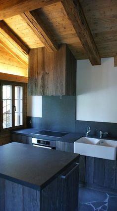 modern rustic kitchen | black & wood