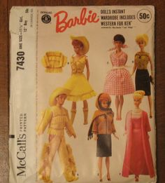 Vintage Barbie Sewing Pattern McCalls 7430