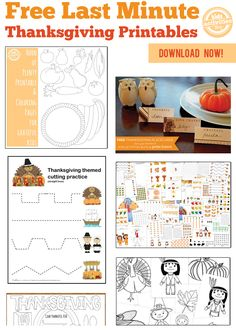 Keep the kids occupied today with the free last minute Thanksgiving printables!