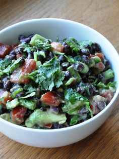 Avocado & Black Bean Salad with simple olive oil/vinegar dressing