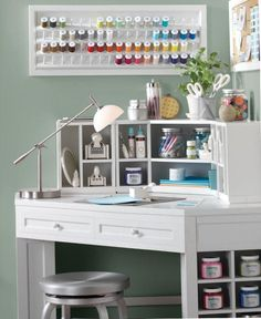 Cute idea for craft table/sewing table... really love the thread in the frame.