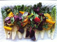 Romaine Hearts with Beets, Pistachios, and Roasted Garlic Vinaigrette for #fallfest!