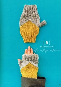Colorful Fingerless Knit Mittens & Wrist by JapanLovelyCrafts