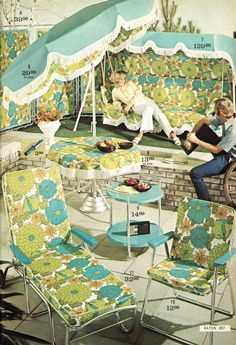 remember this, lawn furniture, backyard patio, patio sets, 1970s, flower power, flowers, design studios, backyards