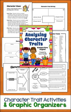 Analyzing Character Traits - (Common Core Aligned - RL.3.3, RL.4.3, RL.5.3) Activities and graphic organizers for teaching students to analyze character traits. $ #LauraCandler