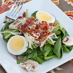 Spinach Salad with Swiss cheese and mushrooms, from Real Mom Kitchen.