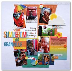 #papercraft #scrapbook #layout.  Summertime @ Granville Island - Scrapbook.com - Summer Paradise Simple Set