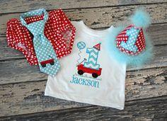 Little Red Wagon Birthday Tshirt First by freshsqueezedbaby