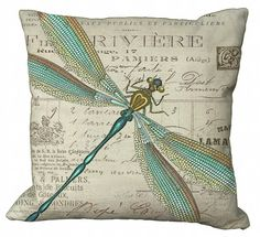 Aqua and Gold Dragonfly 20x20 or 18x18 or 16x16 by Soeuralasoeur, $35.00