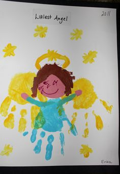 Christmas Angel gift for parents.    I painted the kids two hands with yellow ACRYLIC paint and I placed their hands on the paper.  Then we used baby wipes to clean them for the light blue paint.  I gave the kids a light pink circle to draw the face.  (Cover the top half of the circle first so the toddlers don't draw the eyes at the top and loose a place for the hair.)