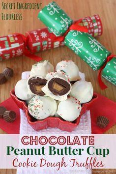 Flourless Chocolate Peanut Butter Cup Cookie Dough Truffles   cupcakesandkalechips.com   #candy #cookiedough #glutenfree #grainfree #desserts #dessertrecipes #food #sweet #delicious #yummy