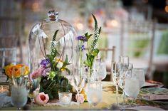 wedding tables, bell jars, glass domes, glasses, vintage vases