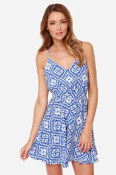 Lucy Love Printed Penelope Blue Print Dress at LuLus.com!