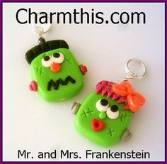 Polymer Clay Mr. and Mrs. Frankenstein by CharmthisClayCharms, $5.00
