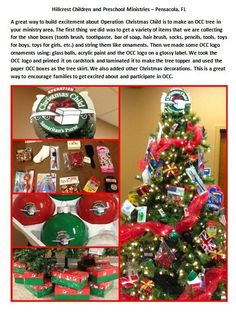 A great way to build excitement about Operation Christmas Child is to make an OCC tree in your ministry area.