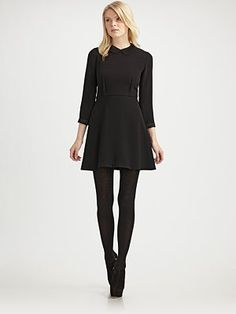 DKNY black dress - I love the 3/4 sleeves and with the black tights!