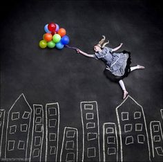 draw, kid photos, chalkboard, rooftop, balloons, beach hair, photo shoots, forced perspective, chalk art