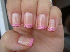 . nail tips, lace, nail polish, french manicures, nail designs, nail arts, pink, french tips, nails