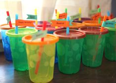 boy 2nd birthday party themes | Brilliant idea I stole from my friend Cheri – Take'n'toss cups for ...