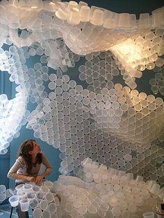 Plastic cups installation.