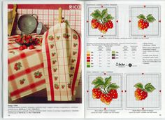 Схемы вышивки крестом кухонных полотенец.   Вышивка крестиком