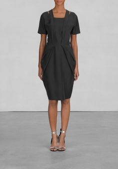 & Other Stories | Shortsleeved Fold Dress | Black