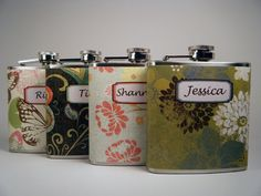 girly flasks! my maids would love this I think. by Liquid Courage via etsy $76.00 for set
