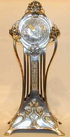 Art Nouveau clock & thermometer by WMF, Germany c. 1906.