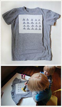 kids shirts, kid art, freezer paper, triangle stencil, paper stencil, kids cuts, stencil craft, stencils shirt, stencil tshirt