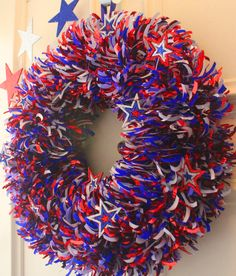 Stopped by the Dollar Store in my area today.  The Fourth of July decorations are on display.  The garland used to make this wreath was in stock ...... was in stock.  Sorry neighbors but I'm making this wreath for myself and two of my dear friends.  Happy Crafting and Pinning.  DIY 4th of July Wreath