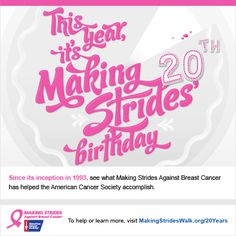 Since it's inception in 1993, see what Making Strides Against Breast Cancer has helped the American Cancer Society accomplish.   @MakingStrides is celebrating 20 years of saving lives! To help or learn more, visit MakingStridesWalk.org/20Years