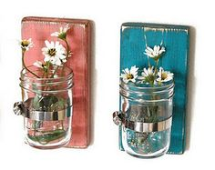 idea, canning jars, shabby chic, country decor, french country, flower pots, wall sconces, mason jars, mason jar projects
