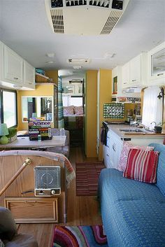 RV rving, wheel, colors, layout, vintage rv interiors, campers trailers interiors, rv renov, yellow walls, white cabinets