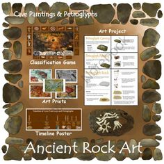 Ancient Rock Art! Enter for your chance to win.  Ancient Rock Art (Included in Cave Paintings & Petroglyphs) (38 pages) from ThematicTeacher on TeachersNotebook.com (Ends on on 9-29-2014)  Students examine art prints, classify images, and carve their own petroglyph on a plaster rock as they explore the origins of human art in this art unit, appropriate for grades 4-6.