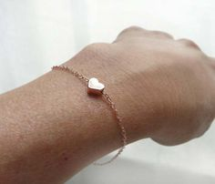 Rose Gold Heart Bracelet//