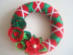 Handmade Holiday Yarn Wreath 10 in wreath by astrausa on Etsy