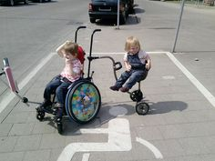 Admit it. Wheelchairs are pretty cool. Especially when your sibling can tag along!