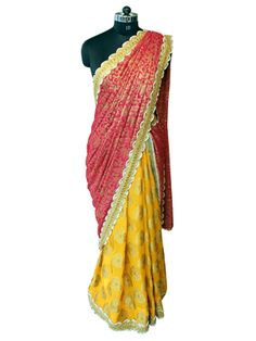 Pink and Yellow Moti work Georgette saree