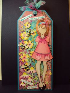 Pauline's Crafty Haven: Prima Doll stamp, Distress inks, Memory Box dies, Promarkers on a Tag.