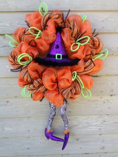 How To Make Mesh Wreaths | witch halloween poly mesh wreath with legs by OOPSYDAISYDESIGNS