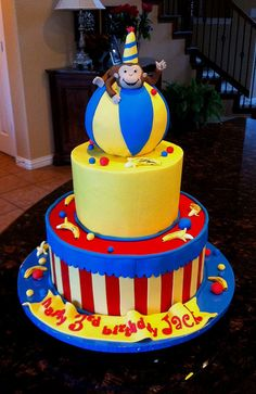 Monkey circus cake by cakesbyashley, via Flickr