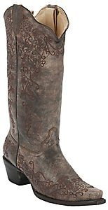 Corral® Ladies Distressed Sand w/ Intricate Chocolate Embroidery Snip Toe Western Boots