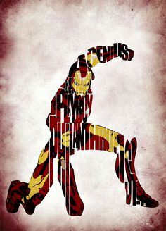 Iron Man Inspired The Avengers Typographic Print and Poster