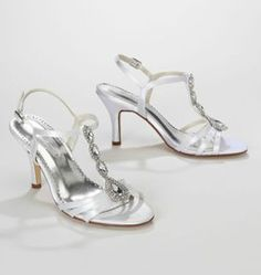 This satin dyeable t-strap high heel sandal is one of the hottest looks of the season. Style MegDyeable. #davidsbridal #bridalshoes